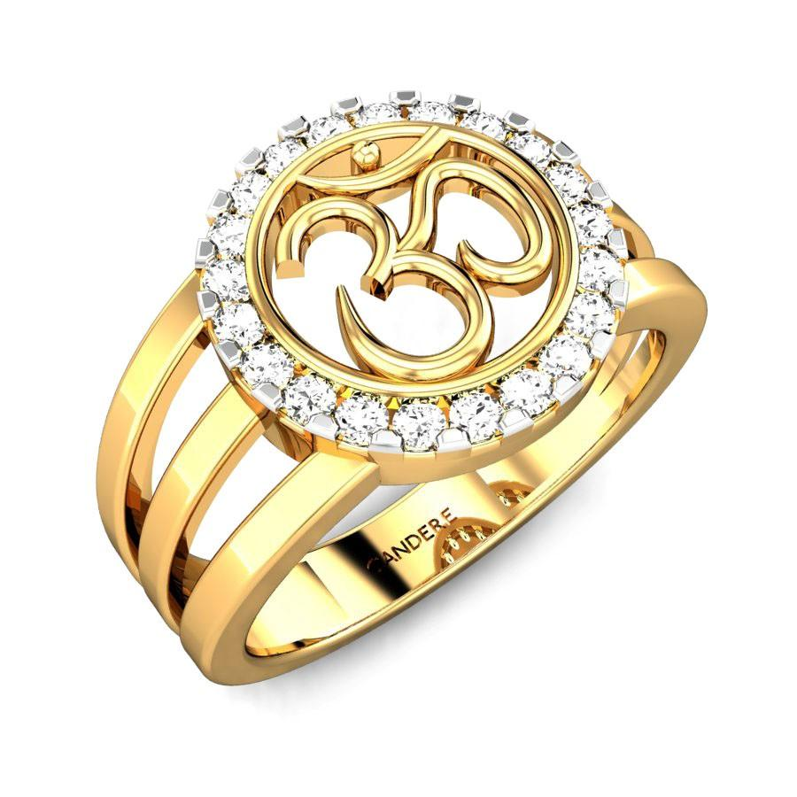 Round Diamond Yellow Gold 18K | Candere Om Diamond Ring | Candere.com
