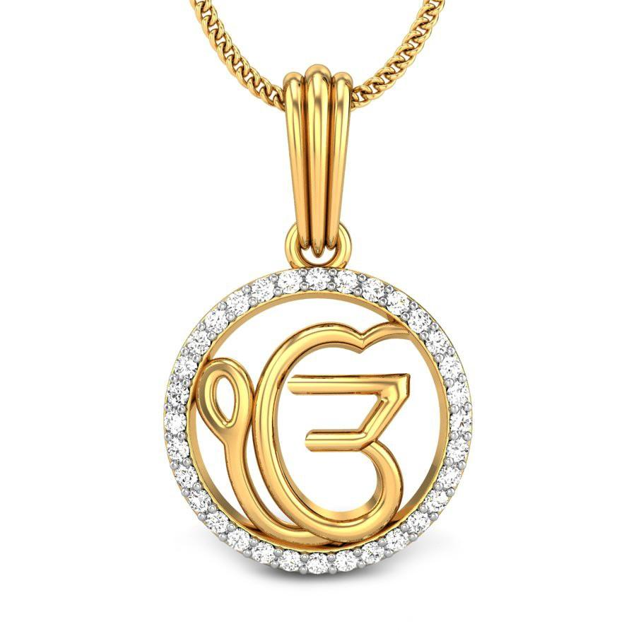 Round Diamond Yellow Gold 14K | Ek Onkar Diamond Pendant | Candere.com