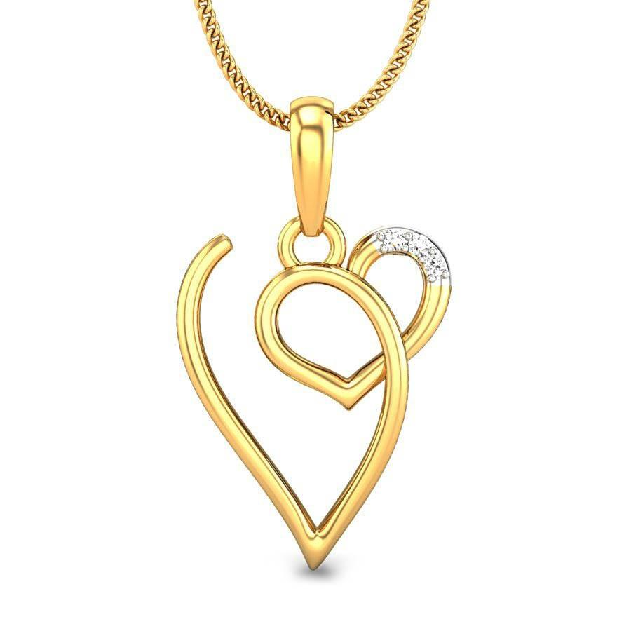 Round diamond yellow gold 18k v love diamond pendant candere mozeypictures Images
