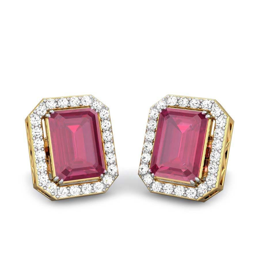 Emerald Cut Red Spinel Yellow Gold 18k  Scarlett Red Spinel Earrings   Candere