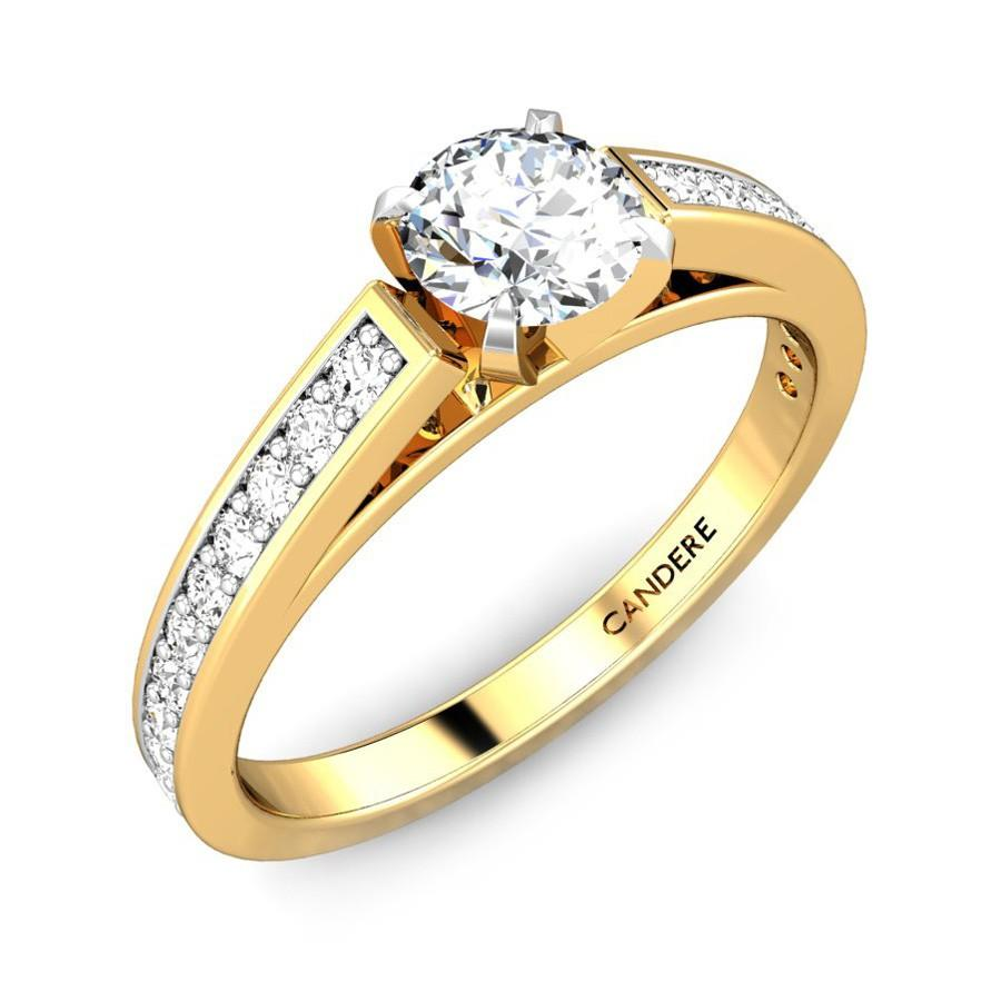 Geethika Diamond Engagement Ring Online Jewellery Ping India Yellow Gold 18k Candere A Kalyan Jewellers Company