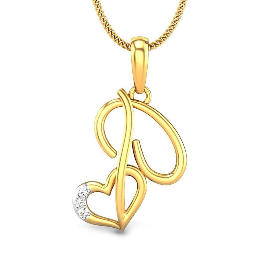P Love Diamond Pendant Online Jewellery Shopping India Yellow Gold