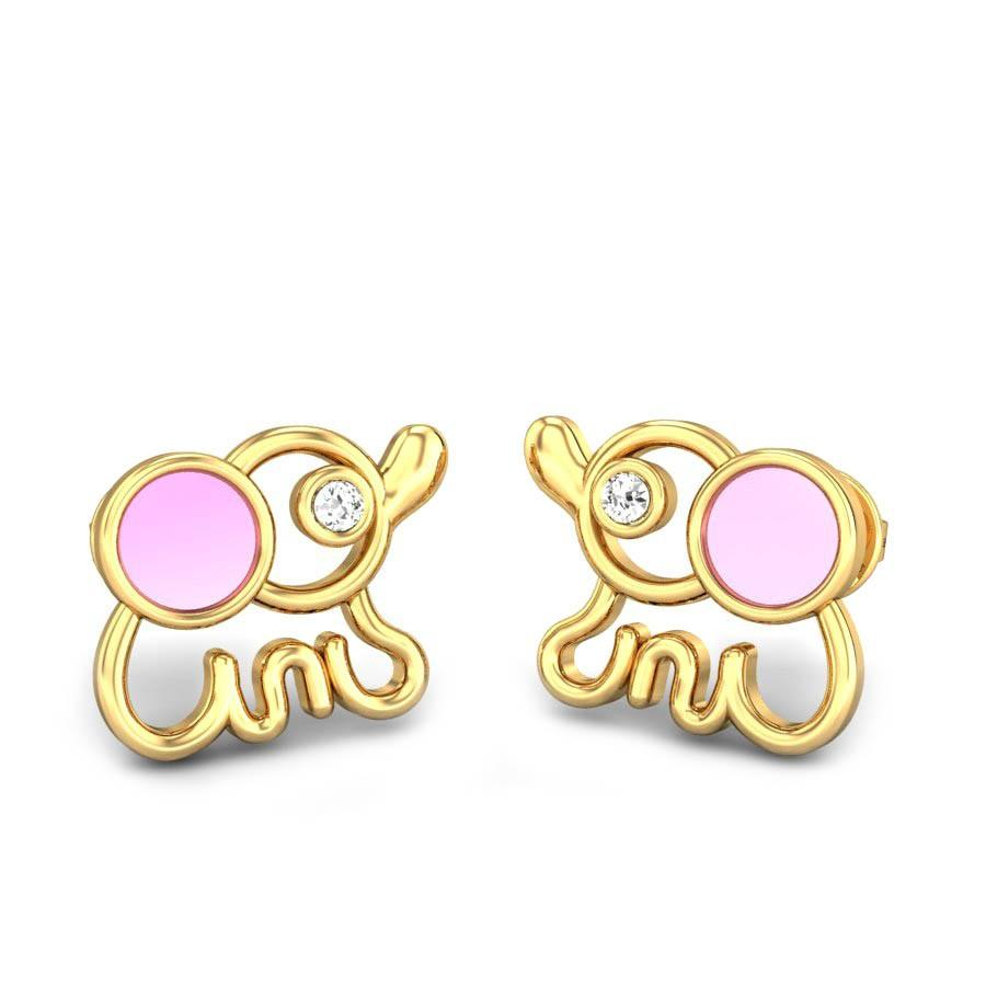 Baby Elephant Diamond Stud Earrings For Kids